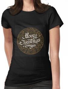 Merry Christmas handmade lettering  Womens Fitted T-Shirt