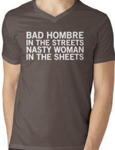 Streets vs. Sheets - Bad Hombre on Top (White) Mens V-Neck T-Shirt