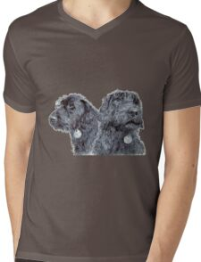 Two Black Labradoodles Mens V-Neck T-Shirt