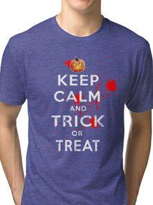 Halloween Keep Calm Trick or Treat Costume Tri-blend T-Shirt