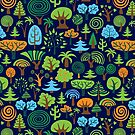 Colorful Assorted Trees Cartoon Style-Blue Background by artonwear
