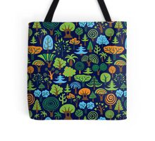 Colorful Assorted Trees Cartoon Style-Blue Background Tote Bag