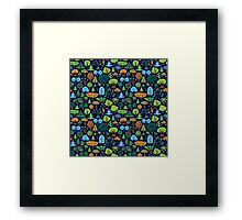 Colorful Assorted Trees Cartoon Style-Blue Background Framed Print