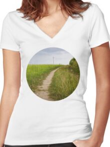 Rural Path Closeup Women's Fitted V-Neck T-Shirt