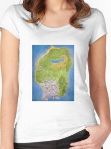 GTA V Map Women's Fitted Scoop T-Shirt