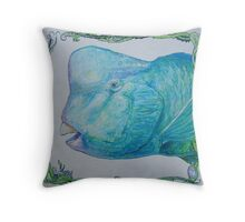 Bump Headed Parrot Fish Head Study Throw Pillow