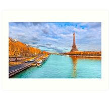Eiffel Tower Rising Over the Golden Paris Seine Art Print