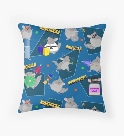 NinChilla Nunchucks In Blueberry Throw Pillow