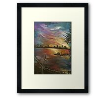 Pastel and Coloured Pencil Beach Scene Framed Print
