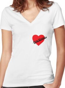 Nasty Woman Heart 2 Women's Fitted V-Neck T-Shirt