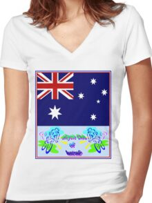 BICYCLE CLUB; of Australia Print Women's Fitted V-Neck T-Shirt