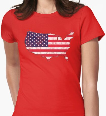 USA Map Flag Womens Fitted T-Shirt