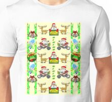 BIKING SANTA; Christmas Ugly Shirt Print Unisex T-Shirt