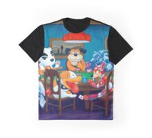 Video Game Dogs Playing Poker Graphic T-Shirt