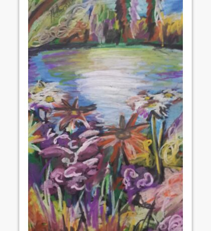 Oil Lake and Flowers Sticker