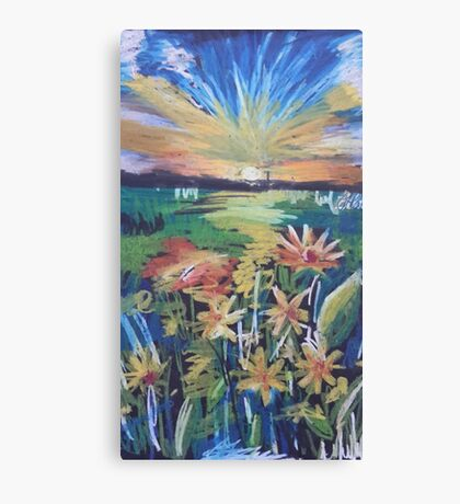 Oil Flowers on a Field Canvas Print