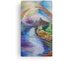 Oil Mountain and Rainbow Canvas Print