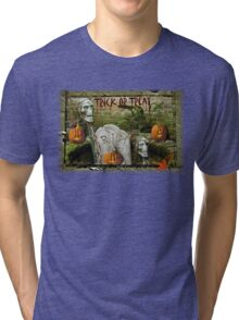 Trick or Treat on Spooky Halloween! Tri-blend T-Shirt