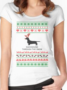 dachshund through the snow Women's Fitted Scoop T-Shirt