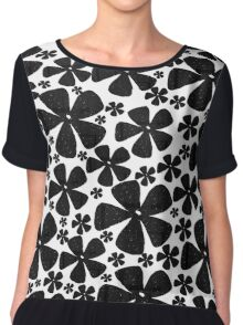 Black Black Flowers Chiffon Top