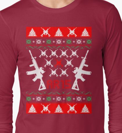 Ar 15 ar15 ugly christmas sweater Long Sleeve T-Shirt