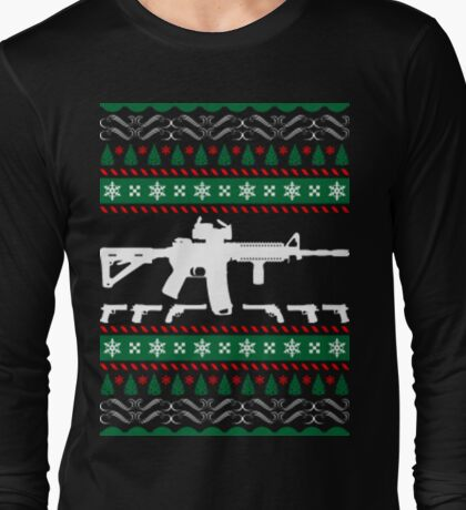 Ar 15 ar15 ugly christmas sweater xmas Long Sleeve T-Shirt