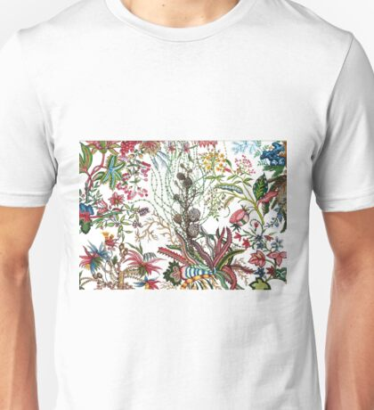 Design created by Stephen Bowers after late 18th-century water-colour and block prints of fleurs tropicales et palmiers for toile de Jouy Unisex T-Shirt