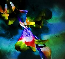 Blue Orchid Stem Abstract by AussieDigital