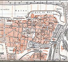 Vintage Map of Ostend Belgium (1905) by BravuraMedia