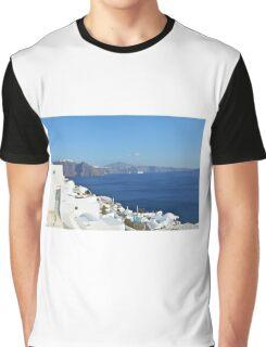 Beautiful white houses in Santorini, Greece Graphic T-Shirt