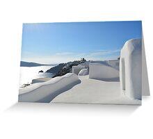 Beautiful white houses in Santorini, Greece Greeting Card
