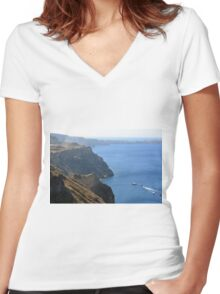 The Aegean Sea in Santorini and the volcanic islands Women's Fitted V-Neck T-Shirt