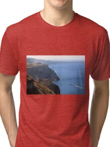 The Aegean Sea in Santorini and the volcanic islands Tri-blend T-Shirt