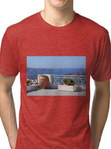 Amphora in Santorini, Greece and the Aegean Sea Tri-blend T-Shirt