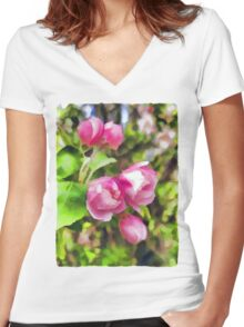 Pink Blossoms of Spring Women's Fitted V-Neck T-Shirt