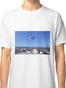 Greek flag in Santorini, Greece Classic T-Shirt