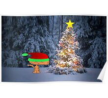 Happy Cat By A Christmas Tree Poster