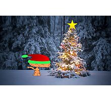 Happy Cat By A Christmas Tree Photographic Print