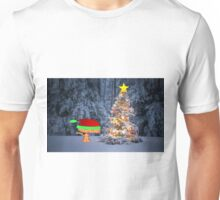 Happy Cat By A Christmas Tree Unisex T-Shirt