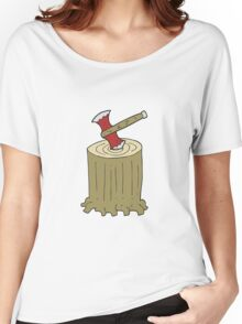 cartoon tree stump and axe Women's Relaxed Fit T-Shirt