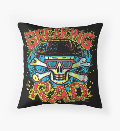 Breaking Rad Bad To The Bone Skull Throw Pillow