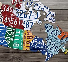 Map of Canada Vintage License Plate Art - Grey Stain by Route401