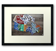 Map of Canada Vintage License Plate Art - Grey Stain Framed Print