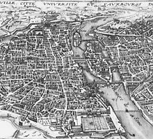 Vintage Pictorial Map of Paris (17th Century)  by BravuraMedia