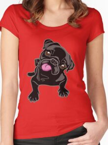 Black Pug Puppy Women's Fitted Scoop T-Shirt