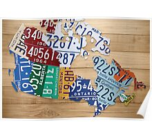 License Plate Map of Canada Art - Natural Stain Poster