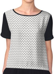 Stylish abstract seamless pattern with black graphic ornament with zigzag Chiffon Top