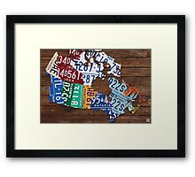 Map of Canada License Plate Rustic Art - Reclaimed Wood Framed Print