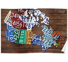 Map of Canada License Plate Rustic Art - Reclaimed Wood Poster
