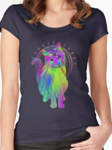 Psychic psychedelic trippy cat Women's Fitted Scoop T-Shirt